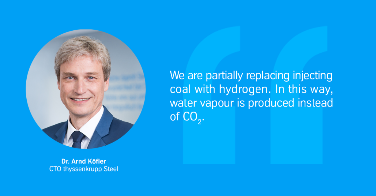 We are partially replacing injecting coal with hydrogen. In this way, water vapour is produced instead of CO2.