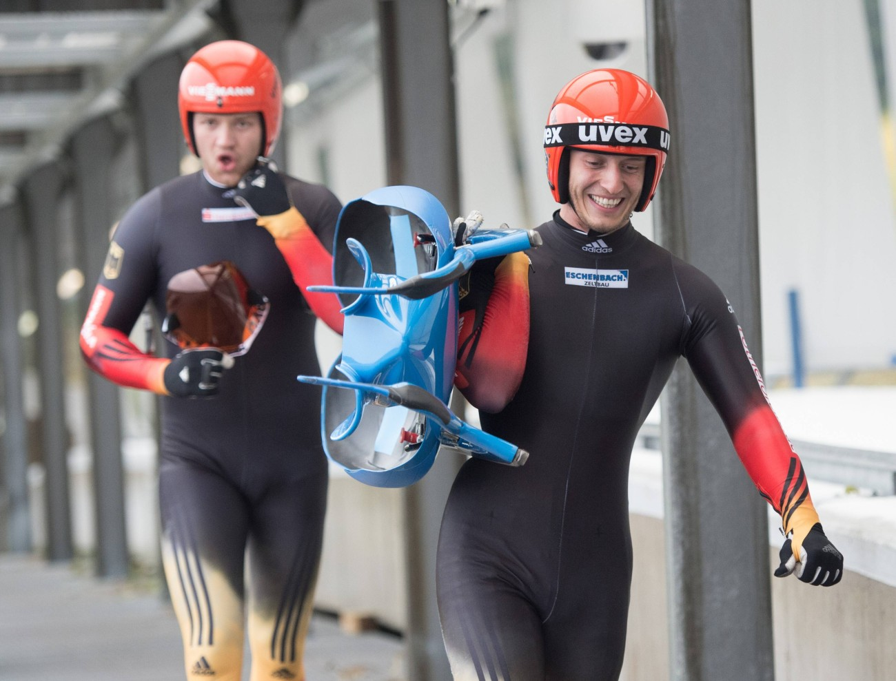 They steer the luge by flexing the runners with their calves or shifting their weight