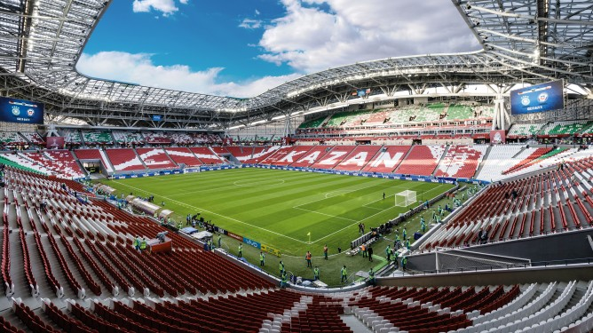 The 2018 World Cup in Russia: A steel roof slopes over spectators in the Kazan Arena. This imposing steel structure demonstrates the importance of steel in stadium construction.