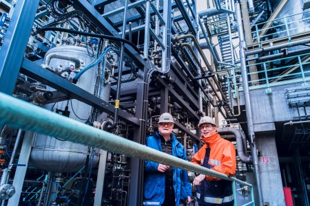 Coke plant manager Peter Liszio (right) and Holger Thielert from ThyssenKrupp Industrial Solutions