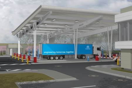 The Truck handling at thyssenkrupp in Duisburg goes digital: The steel division has started to modernize the handling processes at the gates. This involves a changeover to digital traffic control and automated self-handling by truck drivers as well as extensive structural improvements. The processing improves efficiency and avoids waiting times.