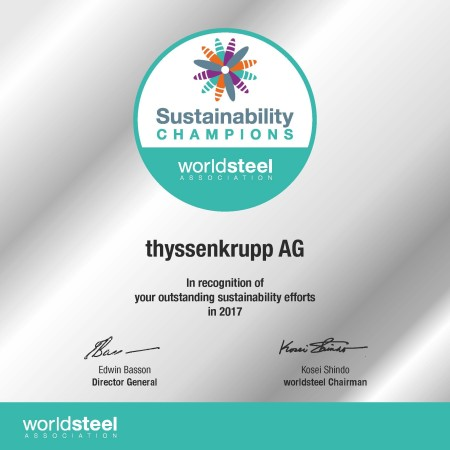 In 2017, worldwide only six companies were awarded sustainability champions.