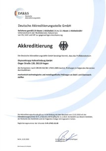 Laboratory accreditation DIN EN ISO / EC 17025:2000-04 (German only)